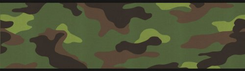Military Wall Border - Camouflage Camo Wallpaper Wall Border - Green