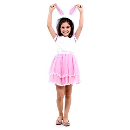 Fantasia Coelhinha Infantil Sulamericana Fantasias Branco/Rosa 8 Anos