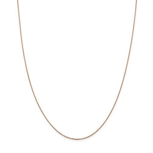 14k Rose Gold 1mm Link Cable Chain Necklace 24 Inch Pendant Charm Round Fine Jewelry For Women Gift Set