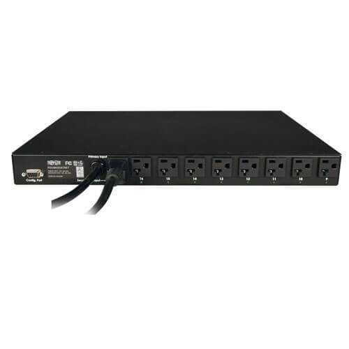 Tripp Lite Switched PDU with ATS, 20A, 16 Outlets (5-15/20R), 120V, 2 L5-20P / 5-20P Inputs, 12 ft. Cords, 1U Rack-Mount Power (PDUMH20ATNET) by Tripp Lite (Image #1)