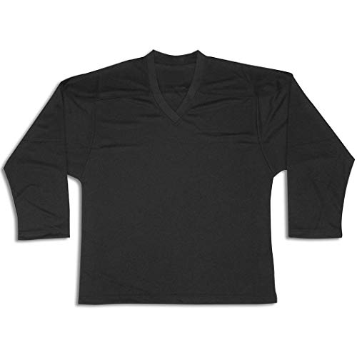 Kamazu FlexxIce Classic Youth/Junior Practice Hockey Jersey, 100% Polyester Mesh (Black, Junior L/XL)