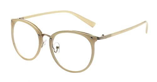 Kelens Retro Optical Eyewear Non-prescription Eyeglasses Frame with Clear Lens Beige