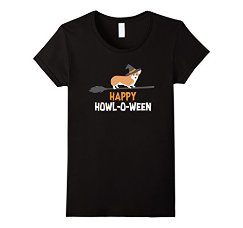 Womens Halloween Corgi Shirt, Funny Cute Witch Hat Costume Gift Large Black