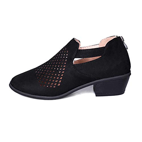 COPPEN Women Boots Spring Ankle Hollow Out Leather Shoes ()