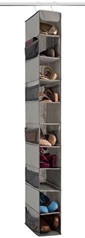 Zober 10-Shelf Hanging Shoe Organizer, Shoe Holder for Closet - 10 Mesh Pockets for Accessories - Br