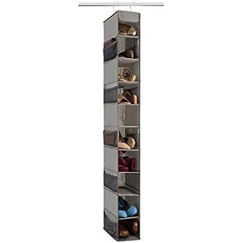 Bon Zober 10 Shelf Hanging Shoe Organizer, Shoe Holder For Closet   10 Mesh  Pockets