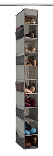 Zober 10-Shelf Hanging Shoe Organizer, Shoe Holder for Closet - 10 Mesh Pockets for Accessories - Breathable Polypropylene, Gray - 5 x 11.5 inch x 52 ()