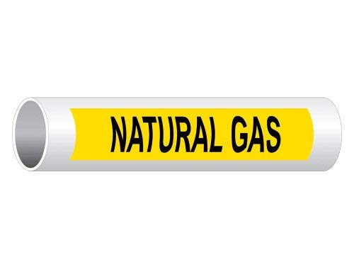 Natural Gas Pipe Label, 8 x 2 Inch Yellow 5-pack, Vinyl