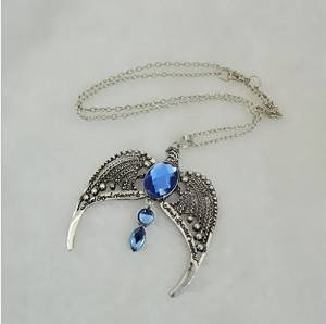 (Antique Silver Blue Stone Eagle Necklace H P Hogwarts School Diadem Ravenclaw Necklace Unisex Movie Witchcraft Jewelry Cosplay)