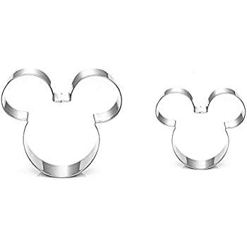 SUPPEAR Mouse Cookie Cutter - Food Grade Stainless Steel Cushioned Shape, Set of 2