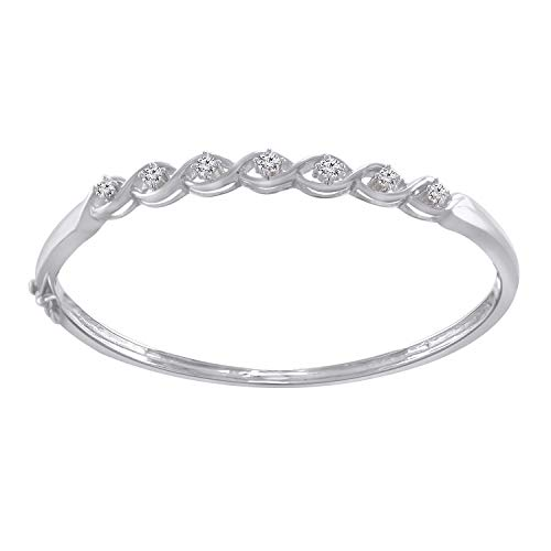 - Trillion Jewels 0.49 CT (Clarity I1-I2/Clor I-J) Natural Diamond 14K White Gold Fn Bangle Style Bracelet