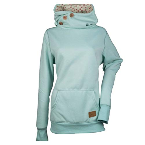 LUOEM Women's Long Sleeve Funnel Neck Collar Oblique Buttons Casual Tunic Slim Fit Plain Hoodie Kangaroo Pocket Pullover Sweatshirt Size 5XL (Blue)