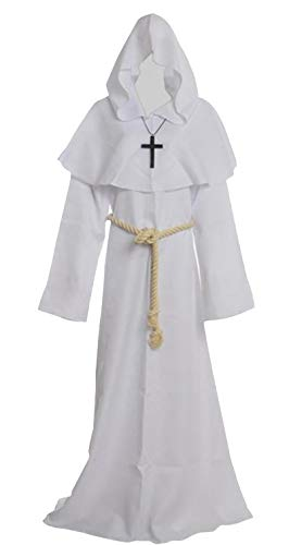 Friar Medieval Hooded Monk Renaissance Priest Robe Costume Cosplay white S]()
