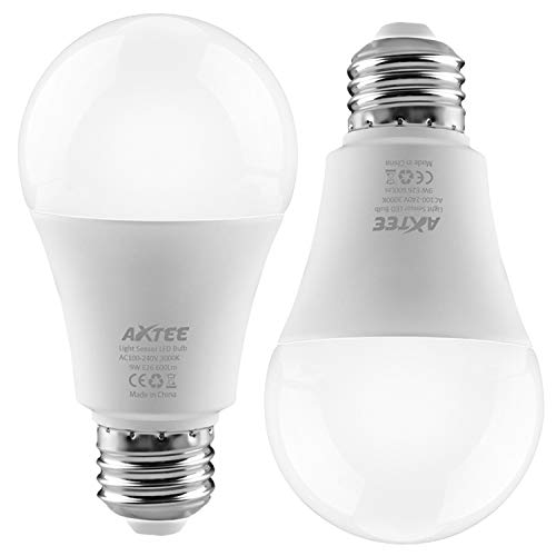 Dusk to Dawn Light Bulb, Sensor Light Bulbs with Auto On/Off,Indoor/Outdoor Automatic LED Bulbs for Porch, Hallway, Patio, Garage (E26/E27, 6000k Cold White) (3000K 2pack)