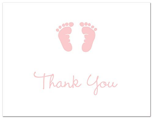 50 Cnt Baby Footprint Girl Baby Shower Thank You Cards