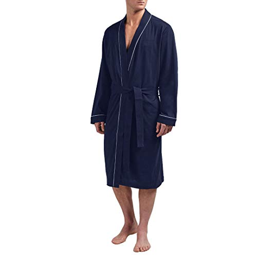 Lightweight Cotton Bathrobe Men Knee Length Comfy Robe (Navy Blue - Jersey Cotton Robe