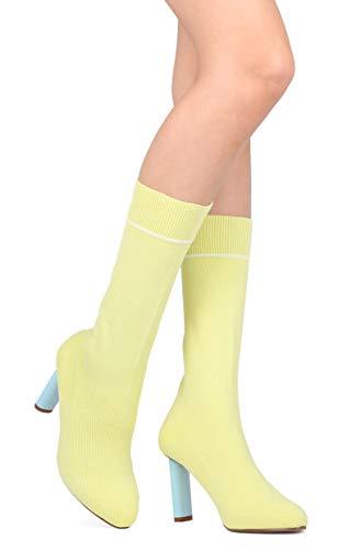CAPE ROBBIN Women Sweater Mid-Calf Pointy Toe Oval Heel Sock Boot GB55 - Yellow (Size: ()
