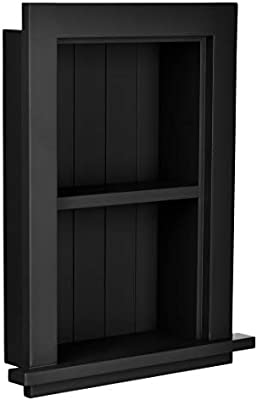 AdirHome White Wood Home Decor Bathroom Recessed Storage Wall Cabinet With Shelf