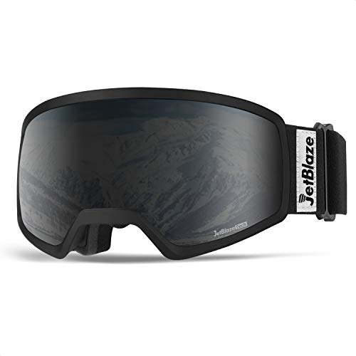 JetBlaze Ski Goggles, Anti-Fog Snow Goggles, UV Protection Spherical Snowboard Goggles for Men Women Youth Adult