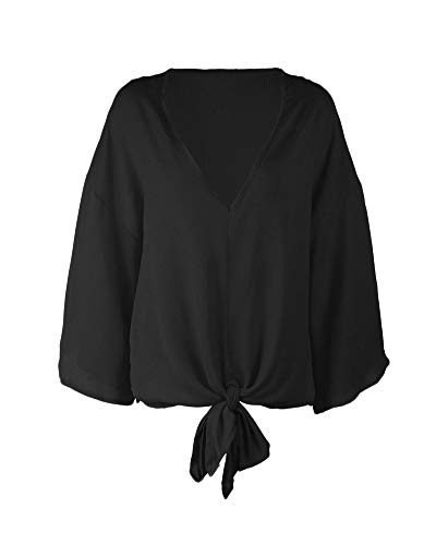 Soie Mousseline Manches pour Femme V Blouse en T Chemisier Haut Shirt Noir Top De Col Longues Yqxwvf8