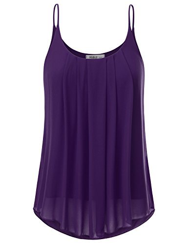 JJ Perfection Women's Pleated Chiffon Layered Cami Tank Top PLUM (Purple Chiffon)