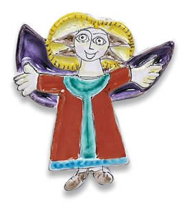 (Hand Painted De Simone Ascending Angel Decoration - Handmade in Sicily )