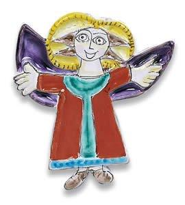 Hand Painted De Simone Ascending Angel Decoration - Handmade in Sicily