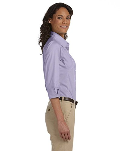 Devon & Jones Pink Three-Quarter-Sleeve Stretch Poplin Blouse