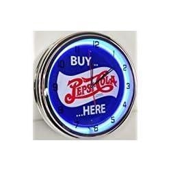 BUY PEPSI COLA HERE 15 NEON LIGHT WALL CLOCK POP SHOP BAR VINTAGE STYLE GARAGE SIGN BLUE