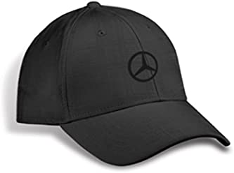 Mercedes Benz Genuine Plaid Patterned Structured Baseball Cap Hat - Black 3dc27e277fa5
