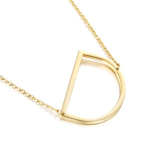 Awegift Oversized Alphabet Necklace Big Letter Pendant Stainless Steel Jewelry Gift for Ladies Gold D