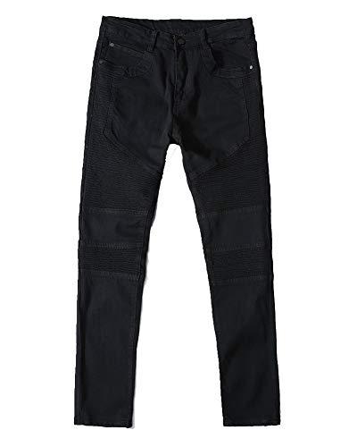 Vaqueros Hombre Biker Vaqueros Denim Slim Fit Motero Moderno Ajustados Elásticos,Jeans Plisados D Estilo