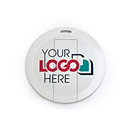Possibox Custom Round Card USB Flash Drive Printed with Your Logo – Wholesale Bulk – 128MB 50 Pack