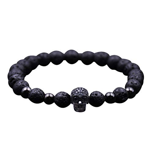Elogoog Hot Sale 2018 Women Men 8mm Lava Rock Diffuser Bracelet Charm Black Skull Natural Stone Yoga Beads Bracelet Bangle Jewelry Gift (Black) ()