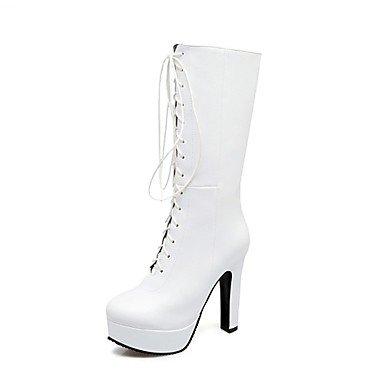 Mid Zapatos Calf para Stiletto botas botas polipiel redonda US8 Lace novedad UK6 mujer Up EU39 botas puntera RTRY talón Noche invierno Boda CN39 moda de amp;Amp; dUqZAZ