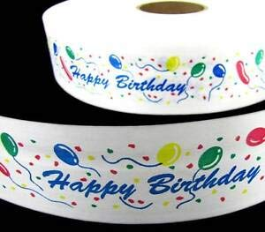 6 Yards Happy Birthday Balloons White Acetate Ribbon 2 1/2