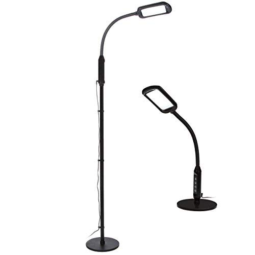 - Brightech Litespan 2-in-1 - High Contrast, Bright Floor & Table LED Lamp for Reading & Crafts - Convert from Standing Task Light to Bedroom, Bedside Table Book Lamp - Pole & Gooseneck Lighting