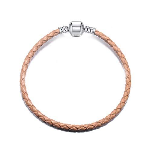KEIRA HENDERSON 9 Colors Leather Chain Charm Bracelets with DIY Bracelet for Women Girls Jewelry Gift,Gray-1,19cm (Silver Bracelet For Baby Boy In India)