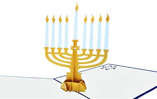 iGifts And Cards Happy Hanukkah 3D Pop Up Greeting Card - Chanukah, Jewish, Candles, Inspirational, Dreidel, Rabbi, Menorah, Star of David, Blessing, Half-Fold, Seasons Greetings, Holiday Tradition