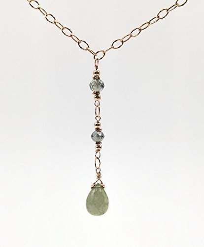 nd Sapphire Teardrop Y Necklace   Handmade Designer Unique Fine Jewelry Gifts (Designer Lariat Necklace)