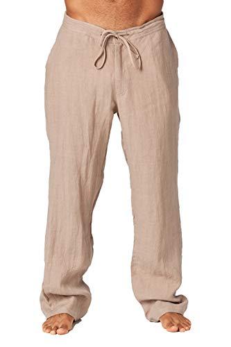 - Mariyaab Men's Casual 100% Linen Pants with Drawstring and Elastic Waist(9506, VintageKhaki, 36)