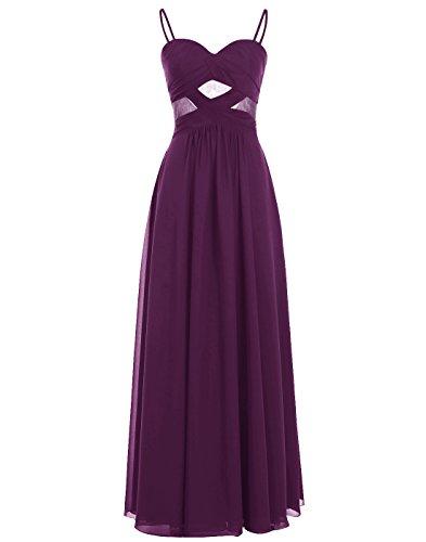 Grape Gown Long Spaghetti ALAGIRLS Prom Straps See Through Dress Chiffon zaq8Yf