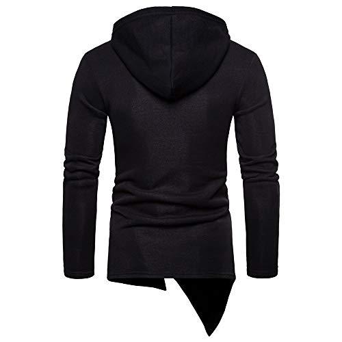 Sleeve Long Coat Jacket Hooded Camouflage Zipper MCYs Patchwork Blouse Outwear Men's Black AqwX0xn87