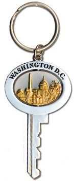 Washington DC Key Shape Swivel Keychain, Washington DC Keychains, Washington D.C. Souvenirs