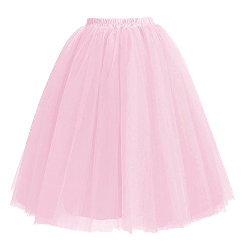 Facent Mujer Adultos Midi Tutu Falda Tul Enaguas para Disfraz Halloween Rosa