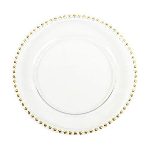 Beaded Edge Dinner Plate - Koyal Wholesale 424658 Clear Glass Beaded Couture Charger Plates, Gold, 4-Pack Round 13-Inch Party Plates