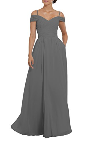 71dde393244 Women s The Chiffon Shoulder Evening Party Pockets Formal Grey Bridesmaid  Off Pleated Gown Dress q1frwOq