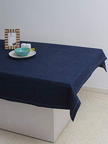 - AZ COLLECTION Tablecloth Denim Blue for Spring & Summer Used for Family Meals or Gatherings, Weddings, Brunch, Catering Events, or Parties (60X82 Inch)