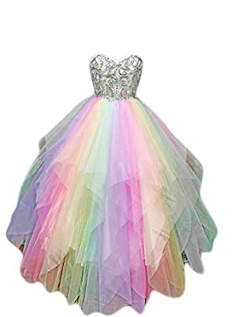 7e0c98d62ce6 Organza Rainbow Unicorn Formal Dress Pride Prom Wedding at Amazon ...