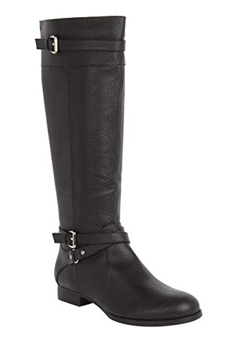 Calf Large Leather (The Janis Wide Calf Boot - Black, 8 1/2 M)